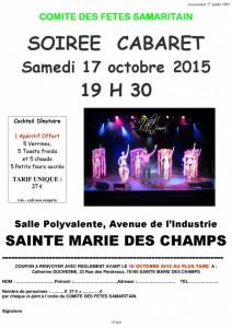 BULLETIN D'INSCRIPTION SOIREE CABARET 17 OCTOBRE 2015