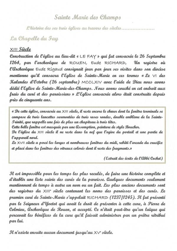 Histoire de la Chapelle du Fay